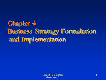 Business Strategy Formulation and Implementation