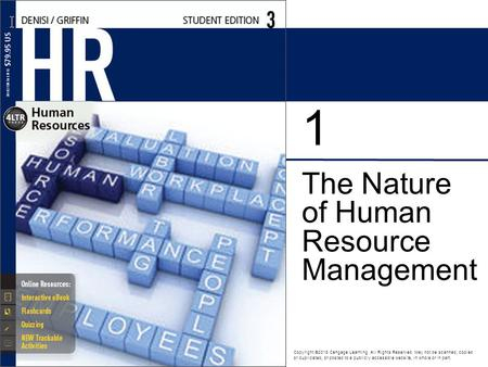 The Nature of Human Resource Management 1 Copyright ©2016 Cengage Learning. All Rights Reserved. May not be scanned, copied or duplicated, or posted to.