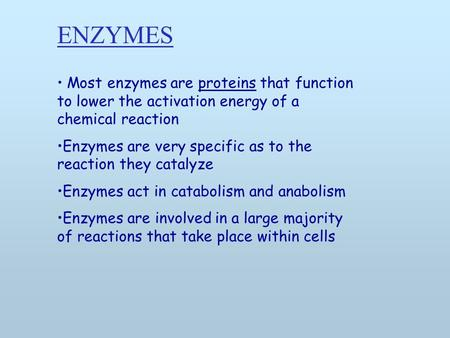Most enzymes are proteins that function to lower the activation energy of a chemical reaction Enzymes are very specific as to the reaction they catalyze.