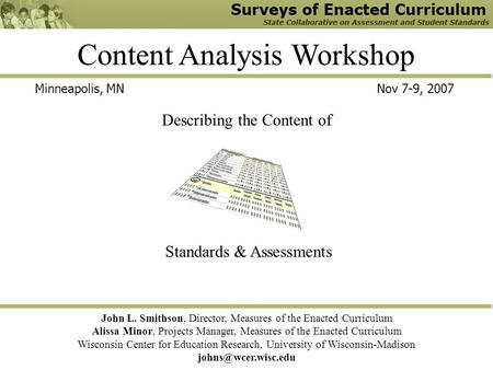 Content Analysis Workshop John L. Smithson, Director, Measures of the Enacted Curriculum Alissa Minor, Projects Manager, Measures of the Enacted Curriculum.