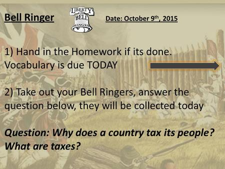 Bell Ringer Date: October 9 th, 2015 1) Hand in the Homework if its done. Vocabulary is due TODAY 2) Take out your Bell Ringers, answer the question below,