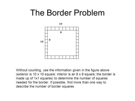 The Border Problem Without counting, use the information given in the figure above (exterior is 10 x 10 square; interior is an 8 x 8 square; the border.