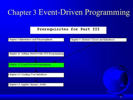 1 Chapter 3 Event-Driven Programming. 2 Objectives F To explain the concept of event-driven programming (§12.2). F To understand event, event source,
