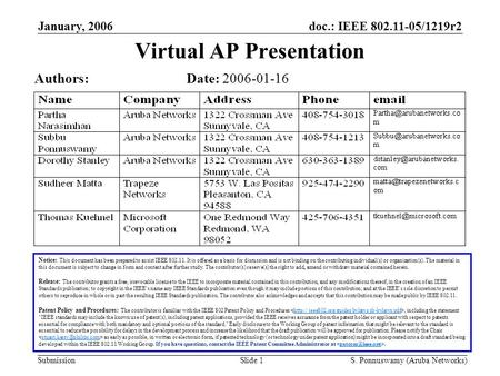 Doc.: IEEE 802.11-05/1219r2 Submission January, 2006 S. Ponnuswamy (Aruba Networks)Slide 1 Virtual AP Presentation Notice: This document has been prepared.