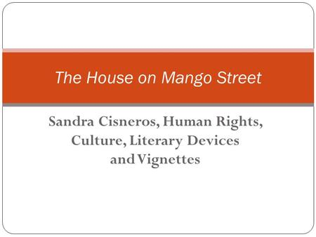 Sandra Cisneros, Human Rights, Culture, Literary Devices and Vignettes The House on Mango Street.
