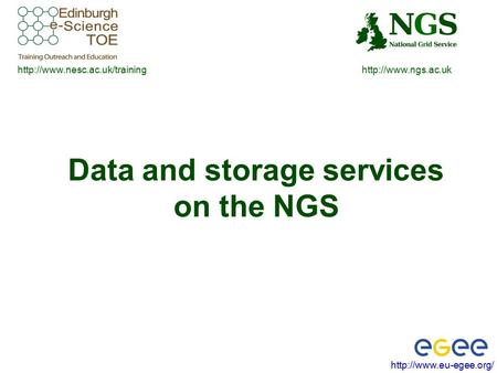 Data and storage services on the NGS.