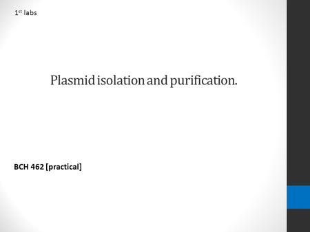 Plasmid isolation and purification. BCH 462 [practical] 1 st labs.