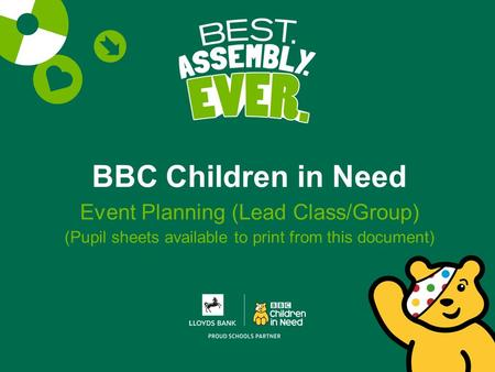 BBC Children in Need Event Planning (Lead Class/Group) (Pupil sheets available to print from this document)
