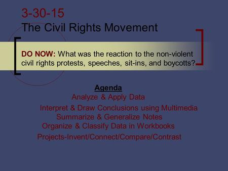 3-30-15 The Civil Rights Movement DO NOW: What was the reaction to the non-violent civil rights protests, speeches, sit-ins, and boycotts? Agenda Analyze.