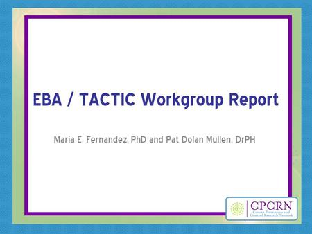 EBA / TACTIC Workgroup Report Maria E. Fernandez, PhD and Pat Dolan Mullen, DrPH.