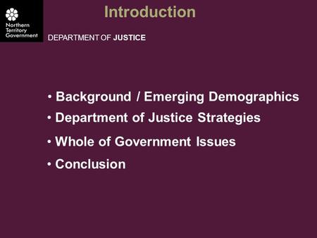 Introduction DEPARTMENT OF JUSTICE Background / Emerging Demographics Department of Justice Strategies Whole of Government Issues Conclusion.