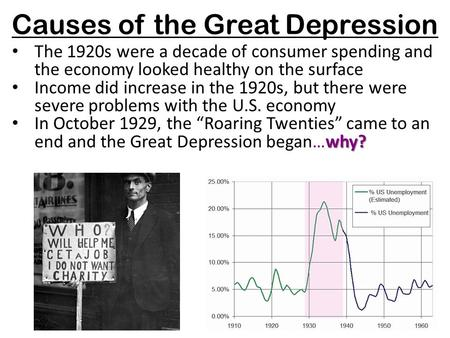 Causes of the Great Depression The 1920s were a decade of consumer spending and the economy looked healthy on the surface Income did increase in the 1920s,