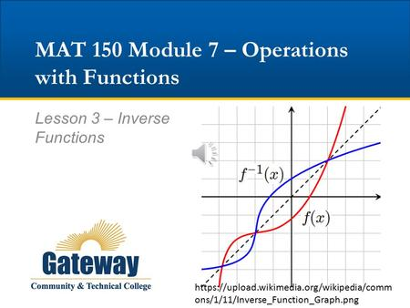 MAT 150 Module 7 – Operations with Functions Lesson 3 – Inverse Functions https://upload.wikimedia.org/wikipedia/comm ons/1/11/Inverse_Function_Graph.png.
