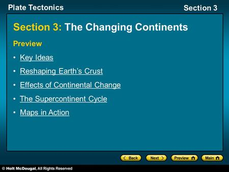 Section 3: The Changing Continents