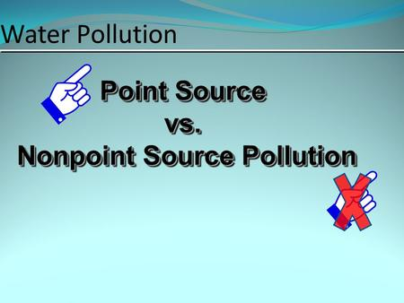 Water Pollution Point Source vs. Nonpoint Source Pollution Point Source vs. Nonpoint Source Pollution.