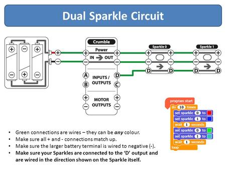 Dual Sparkle Circuit Green connections are wires – they can be any colour. Make sure all + and - connections match up. Make sure the larger battery terminal.