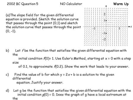 2002 BC Question 5NO CalculatorWarm Up Consider the differential equation (a)The slope field for the given differential equation is provided. Sketch the.