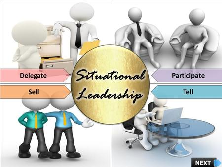 DelegateParticipate SellTell. Course Objectives Describe the Evolution of Situational Leadership Model Explain Hersey-Blanchard Situational Leadership.