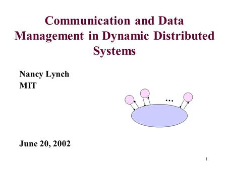 1 Communication and Data Management in Dynamic Distributed Systems Nancy Lynch MIT June 20, 2002 …