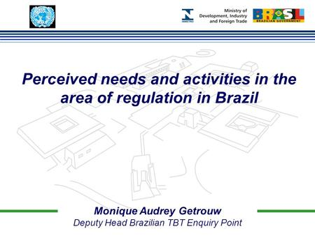 Monique Audrey Getrouw Deputy Head Brazilian TBT Enquiry Point Perceived needs and activities in the area of regulation in Brazil.