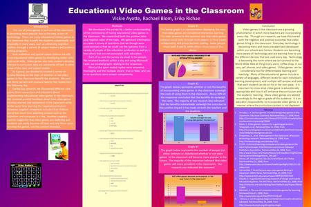 Educational Video Games in the Classroom Vickie Ayotte, Rachael Blom, Erika Richae Conclusion Video games in the classroom are a growing phenomenon in.