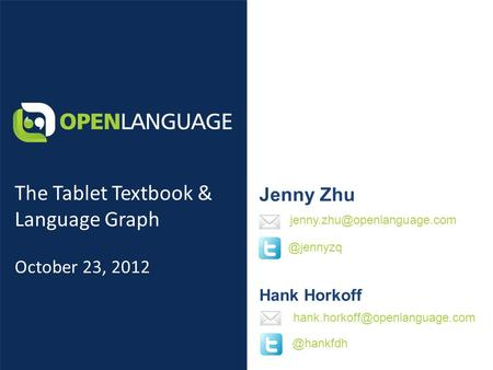 Jenny Zhu Hank Horkoff The Tablet Textbook & Language Graph October