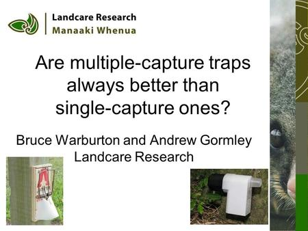 Are multiple-capture traps always better than single-capture ones? Bruce Warburton and Andrew Gormley Landcare Research.