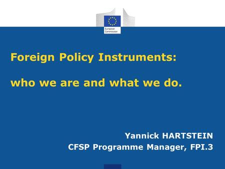 Foreign Policy Instruments: who we are and what we do.