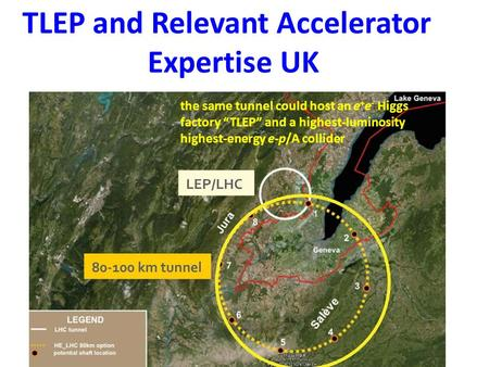 "TLEP and Relevant Accelerator Expertise UK the same tunnel could host an e + e - Higgs factory ""TLEP"" and a highest-luminosity highest-energy e-p/A collider."