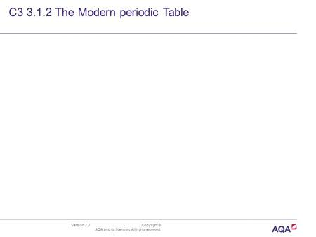 Version 2.0 Copyright © AQA and its licensors. All rights reserved. C3 3.1.2 The Modern periodic Table.