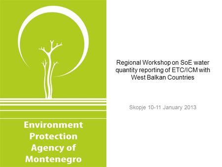 Regional Workshop on SoE water quantity reporting of ETC/ICM with West Balkan Countries Skopje 10-11 January 2013.