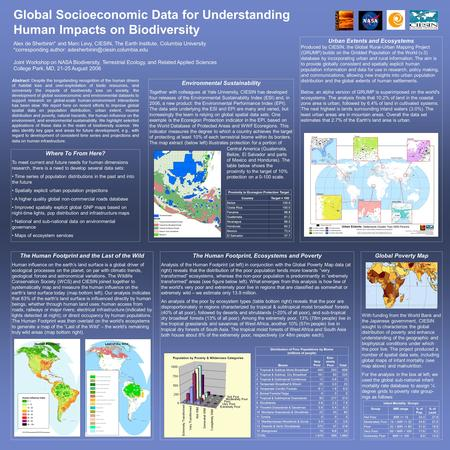 Global Socioeconomic Data for Understanding Human Impacts on Biodiversity Alex de Sherbinin* and Marc Levy, CIESIN, The Earth Institute, Columbia University.