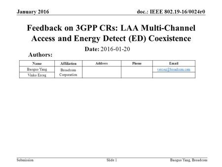 Doc.: IEEE 802.19-16/0024r0 Submission Feedback on 3GPP CRs: LAA Multi-Channel Access and Energy Detect (ED) Coexistence Slide 1 Date: 2016-01-20 Authors: