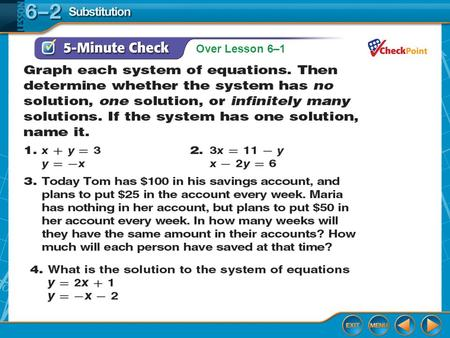 Over Lesson 6–1. Splash Screen Solving Systems By Substitution Lesson 6-2.
