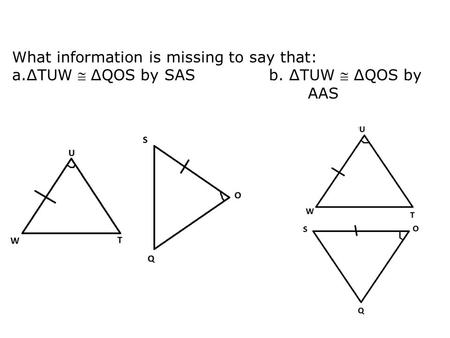 What information is missing to say that: a.ΔTUW  ΔQOS by SAS b. ΔTUW  ΔQOS by AAS.