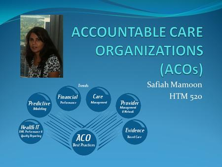 Safiah Mamoon HTM 520. INTRODUCTION U.S. healthcare sector– very large with fragmented care High spending for poor outcomes Care not coordinated Providers.