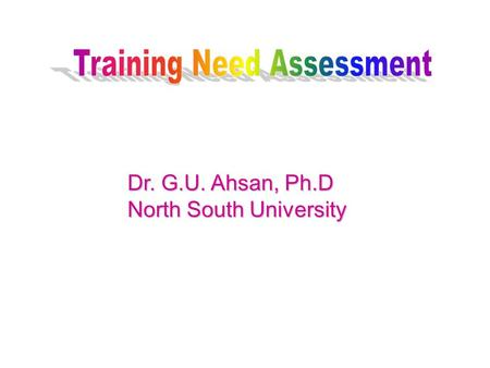 Dr. G.U. Ahsan, Ph.D North South University. DETERMINE TRAINING OBJECTIVES TRAINING NEED ASSESSMENT JOB ANALYSES TRAINEE ANALYSIS PLANNING JOB ANALYSES.