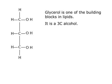 Glycerol is one of the building blocks in lipids. It is a 3C alcohol.