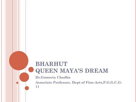 BHARHUT QUEEN MAYA'S DREAM Dr.Guneeta Chadha Associate Professor, Dept of Fine-Arts,P.G.G.C.G- 11.
