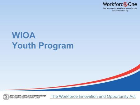 WIOA Youth Program. Changes to Youth Eligibility In-School Youth To be eligible youth must be: ●Aged 14 to 21 ●Low-income* ●And one or more additional.