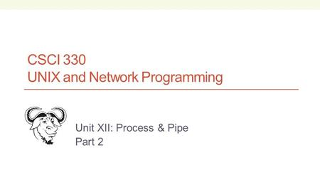 CSCI 330 UNIX and Network Programming