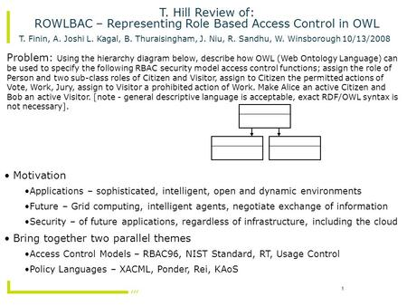 1 T. Hill Review of: ROWLBAC – Representing Role Based Access Control in OWL T. Finin, A. Joshi L. Kagal, B. Thuraisingham, J. Niu, R. Sandhu, W. Winsborough.
