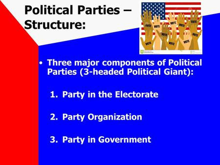 Political Parties – Structure: Three major components of Political Parties (3-headed Political Giant): 1.Party in the Electorate 2.Party Organization 3.Party.