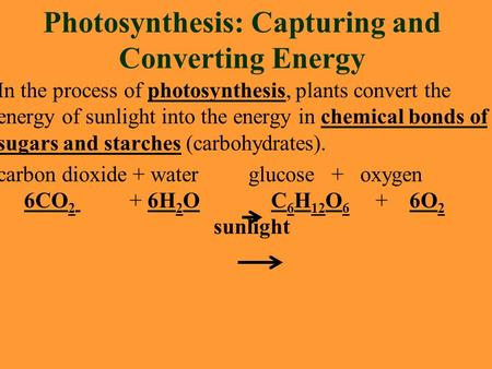 Photosynthesis: Capturing and Converting Energy In the process of photosynthesis, plants convert the energy of sunlight into the energy in chemical bonds.