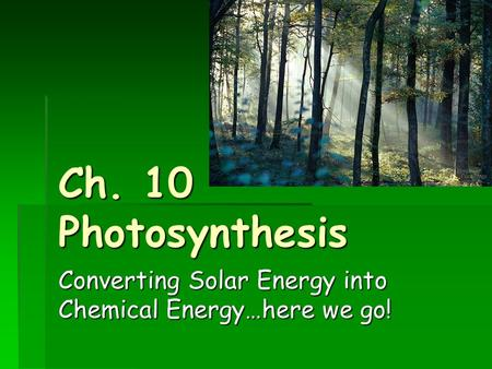Ch. 10 Photosynthesis Converting Solar Energy into Chemical Energy…here we go!