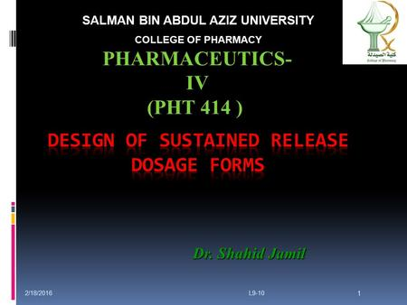 Design of Sustained Release Dosage Forms