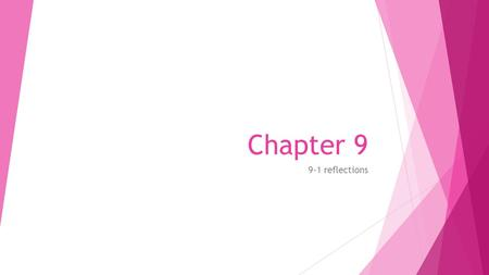 Chapter 9 9-1 reflections. Objectives Identify and draw reflections.