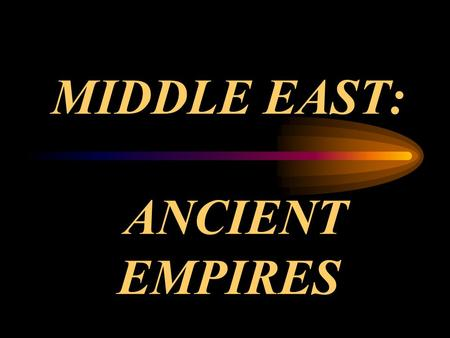 "MIDDLE EAST: ANCIENT EMPIRES. Mesopotamia means ""land between rivers"" It is the area between Tigris River and Euphrates River. It sometimes refers to."