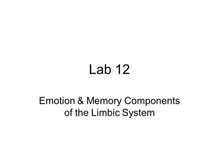 Lab 12 Emotion & Memory Components of the Limbic System.