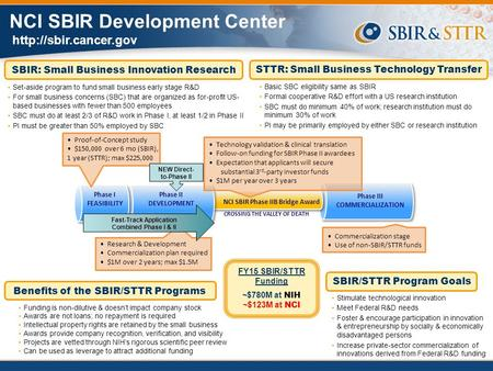 Benefits of the SBIR/STTR Programs STTR: Small Business Technology Transfer SBIR/STTR Program Goals Stimulate technological innovation.